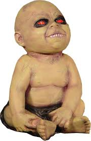 spinning head possessed baby doll animated halloween prop haunted