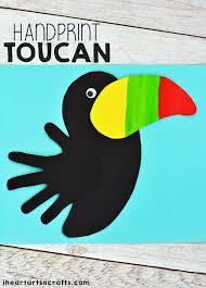 handprint toucan craft for kids toucan craft rainforest animals