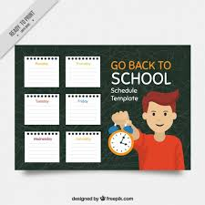 schedule template of notebook sheets and boy with alarm