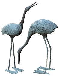 stately cranes garden sculpture set of 2 style garden