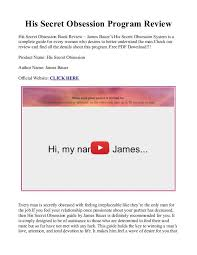 Book Free Download His Secret Obsession Pdf Book Free Download Is James Bauer U0027s