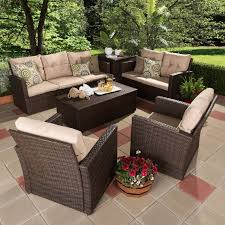 Rattan Patio Table And Chairs Bayou Breeze Dessie 6 Piece Rattan Sofa Set With Cushions