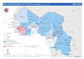 africa map senegal west and central africa ocha rowca coverage as of 10 july 2015