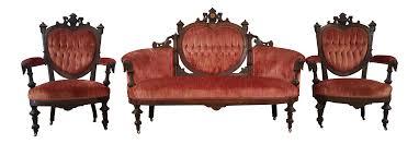 Red Velvet Sofa Set Antique Eastlake Heart Back Red Velvet Settee U0026 Chairs Set Of 3