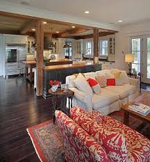open floor plan flooring living room traditional with wood counter