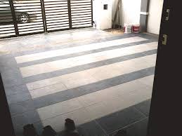 excellent idea for tile in the porch floor and wall decoration on