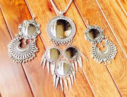 silver earrings necklace images Hot afghani silver oxidized necklace set with earrings mirror jpg