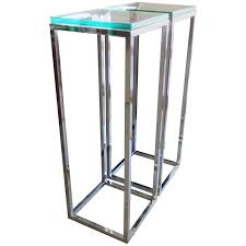 Pedestal Table For Sale Pair Of Classic Tall Chrome Pedestal Tables For Sale At 1stdibs