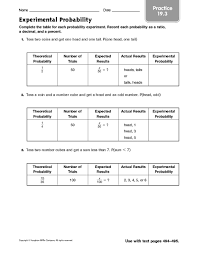 all worksheets experimental probability worksheets printable