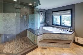 corner tub bathroom designs spacious master bathroom with step up tub and glass shower