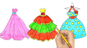 coloring pages dresses for girls learn rainbow colors youtube