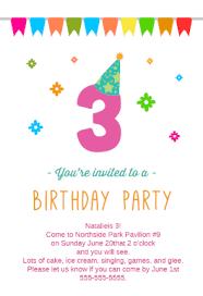 birthday invite template 3rd birthday party free printable birthday invitation template