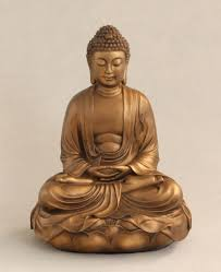 buddha on lotus statue in bronze 12 inches