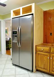 how to trim cabinet above refrigerator how to build in your fridge with a cabinet on top