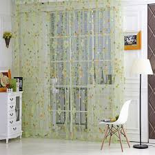 floral print sheer curtain panel window balcony tulle room divider