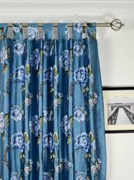 Blue Silk Curtains Halo Embroidered Peony Tab Top Dupioni Silk Curtains