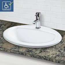 decolav 1436 1 cwh drop in oval vitreous china bathroom sink