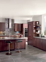 what color floor with cherry cabinets cherry kitchen cabinets with gray wall and quartz countertops ideas