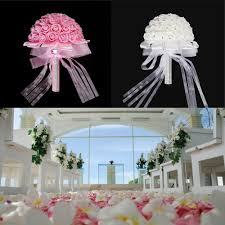 home decor for wedding handmade bridal artificial foam roses flower bouquet wedding bride
