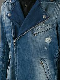 denim motorcycle jacket balmain denim biker jacket in blue for men lyst