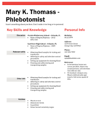 Relevant Skills On Resume Download 10 Professional Phlebotomy Resumes Templates Free