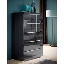 Modern Digs Furniture by Vasto Tall Chest Grey High Gloss Polished Steel Modern Digs