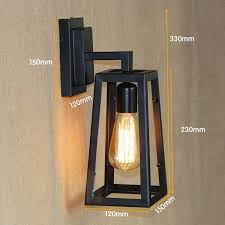 Edison Bulb Wall Sconce Antique Matte Black Lantern Outdoor Wall Lamp Sconce Ac 90 260v