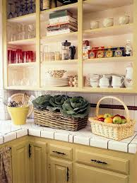 Open Cabinet Kitchen Ideas Cabinets U0026 Drawer Marvelous Yellow Country Kitchen Open Shelves