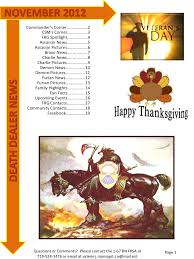 thanksgiving newsletter death dealer november 2012 newsletter