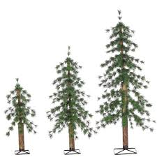sterling set of 2 3 and 4 ft un lit needle alpine trees