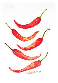 Chili Pepper Home Decor Chili Original Watercolor Painting Kitchen Decor