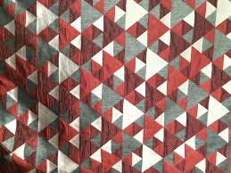 red n grey origami geometric pattern curtain fabric upholstery