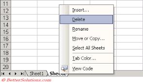 excel worksheets deleting