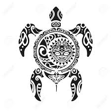 turtle tattoo in maori style vector illustration royalty free