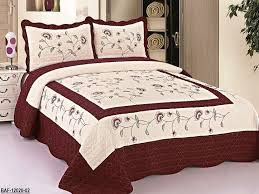 Oversized Quilted Bedspreads Amazon Com 3pc Beige Burgundy High Quality Fully Quilted