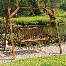 enjoyable outdoor wood swing chair charming brown walnut a frame