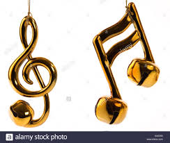 beamed sixteenth note and treble clef jingle bell christmas stock