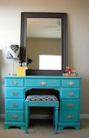 vanity for child desk repurposed into vanity covered the seat with a damask fabric