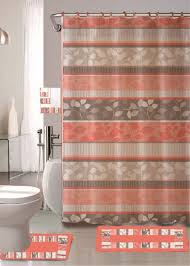 Bathroom Sets Shower Curtain Rugs by Amazon Com Zen Peach 18 Piece Bathroom Set 2 Rugs Mats 1 Fabric