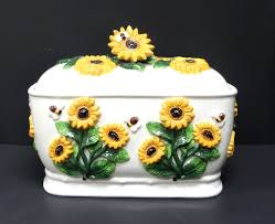 sunflower kitchen decor theme ceramics canister cookie jar