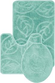 Aqua Bathroom Rugs Leaf Pattern Design 3 Bath Mat Rug Set Everyday Special