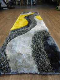 Yellow Runner Rug 3 Set Shag Yellow With Grey And Black Handmade Rug Rug