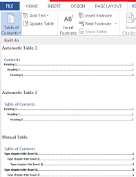 Create Table Of Contents In Word 2013 How To Create And Update Table Of Contents In Word 2013