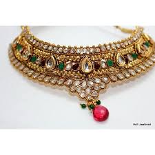 emerald necklace sets images Indian bridal polki gold tone kundan ruby emerald necklace earring jpg