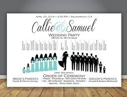 Ceremony Order For Wedding Programs Silhouette Wedding Program Wedding Party Horizontal Layout