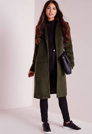 missguided brushed wool coat khaki in natural lyst