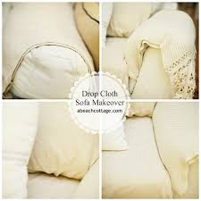 Material For Slipcovers No Sew Sofa Makeover How To Cover A Sofa With Fabric Drop Cloth