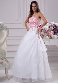 White Wedding Dresses White And Pink Wedding Dresses Weddingcafeny Com