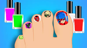 learn colors with miraculous ladybug surprise nail art designs