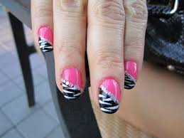 blanca1018 pink and black zebra nail design blue pink and
